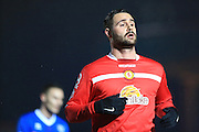 Goalscorer Marcus Haber during the Sky Bet League 1 match between Rochdale and Crewe Alexandra at Spotland, Rochdale, England on 16 February 2016. Photo by Daniel Youngs.