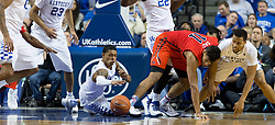 Kentucky guard Tyler Ulis jumps after a loose ball in the second half. The University of Kentucky hosted Ole Miss, Saturday, Jan. 02, 2016 at Rupp Arena in Lexington.
