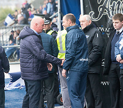 Falkirk's manager Peter Houston and Dunfermline's manager Allan Johnston at the start. Falkirk 2 v 1 Dunfermline, Scottish Championship game played 15/10/2016, at The Falkirk Stadium.