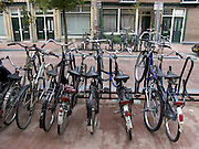 bicycles parked in residential neighborhood