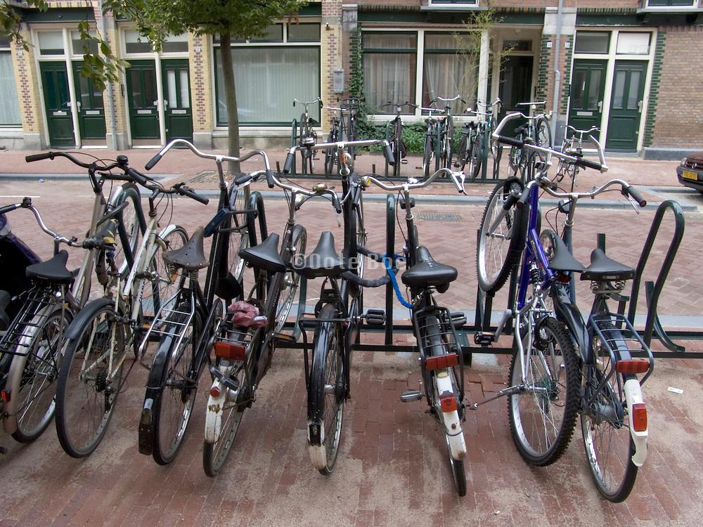 bicycles parked in residential neighborhood