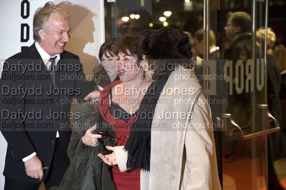 ALAN RICKMAN, RUBY WAX AND SUZANNE BERTISH, European Film premiere of Sweeny Todd,  Odeon Leicester Sq. and party afterwards at the Royal Courts of Justice. 10 January 2008. -DO NOT ARCHIVE-© Copyright Photograph by Dafydd Jones. 248 Clapham Rd. London SW9 0PZ. Tel 0207 820 0771. www.dafjones.com.