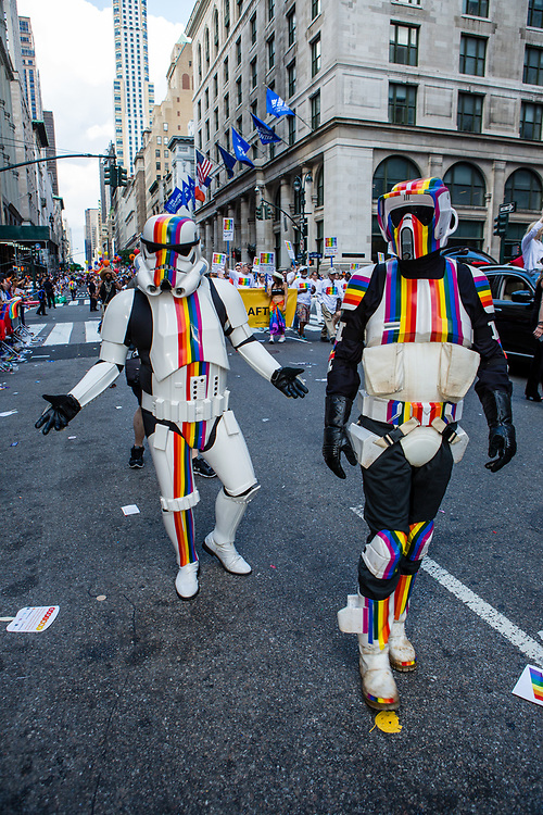 New York, NY - 25 June 2017. New York City Heritage of Pride March filled Fifth Avenue for hours with groups from the LGBT community and it's supporters. Star Wars stormtroopers wear rainbows on their costumes.