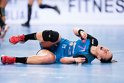 Vesna Milanovic-Litre of RK Krim Mercator injured during handball match between RK Krim Mercator (SLO) and HCM Baia Mare (ROM) in 1st Round of Women's EHF Champions League 2015/16, on October 16, 2015 in Arena Stozice, Ljubljana, Slovenia. Photo by Urban Urbanc / Sportida
