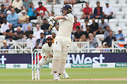 Ben Stokes of England hooks the ball during the 3rd International Test Match 2018 match between England and India at Trent Bridge, West Bridgford, United Kingdon on 21 August 2018.