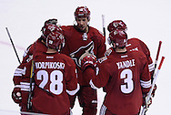 Mar. 2, 2013; Glendale, AZ, USA; Phoenix Coyotes center Lauri Korpikoski (28) is congratulated by defenseman Keith Yandle (3) , defenseman Derek Morris (53) ,  left wing David Moss (18) and center Boyd Gordon (15) after scoring against the Anaheim Ducks in the second period at Jobing.com Arena. Mandatory Credit: Jennifer Stewart-USA TODAY Sports