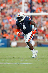 Auburn Tigers linebacker Jeff Holland (4) during an NCAA football game against the Mississippi Rebels, Saturday, October 7, 2017, in Auburn, AL. Auburn won 44-23. (Paul Abell via Abell Images for Chick-fil-A Peach Bowl)