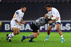 Clermont Auvergne's Peter Betham is tackled by Ospreys' Paul James - Mandatory by-line: Craig Thomas/JMP - 15/10/2017 - RUGBY - Liberty Stadium - Swansea, Wales - Ospreys Rugby v Clermont Auvergne - European Rugby Champions Cup