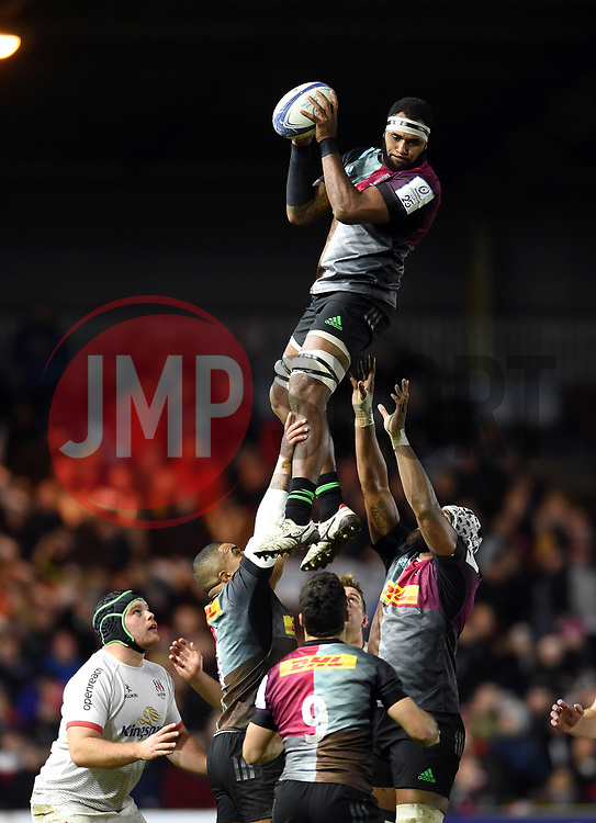 Tevita Cavubati of Harlequins wins the ball at a lineout - Mandatory byline: Patrick Khachfe/JMP - 07966 386802 - 13/12/2019 - RUGBY UNION - The Twickenham Stoop - London, England - Harlequins v Ulster Rugby - Heineken Champions Cup