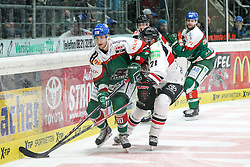 12.12.2014, Curt Fenzel Stadion, Augsburg, GER, DEL, Augsburger Panther vs Koelner Haie, 26. Runde, im Bild l-r: im Zweikampf, Aktion, mit Philip Riefers #90 (Augsburger Panther) und John Tripp #21 (Koelner Haie) // during Germans DEL Icehockey League 26th round match between Augsburger Panther vs Koelner Haie at the Curt Fenzel Stadion in Augsburg, Germany on 2014/12/12. EXPA Pictures © 2014, PhotoCredit: EXPA/ Eibner-Pressefoto/ Kolbert<br /> <br /> *****ATTENTION - OUT of GER*****
