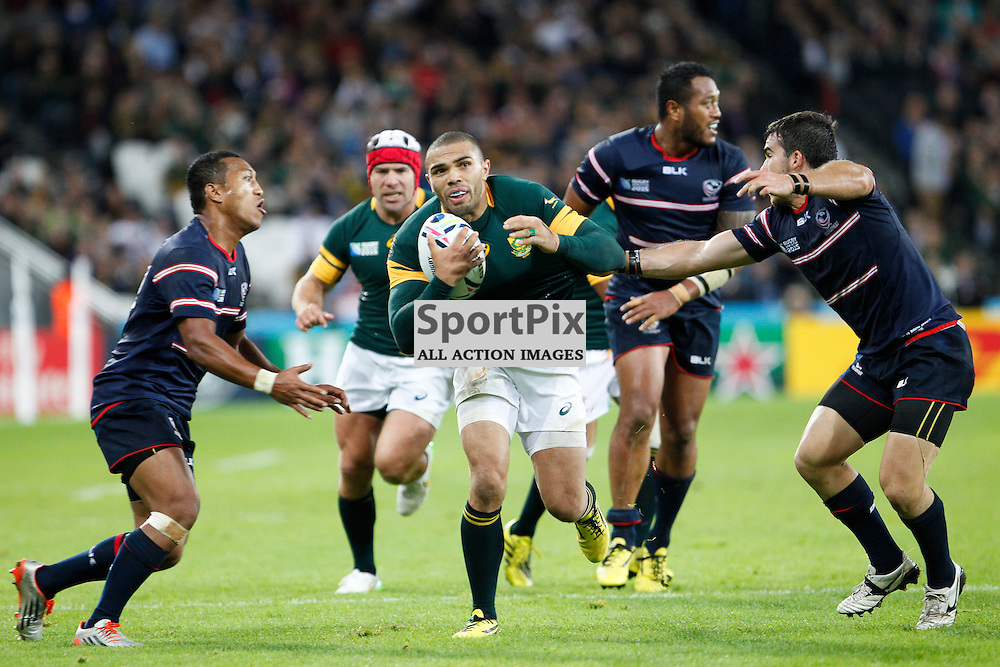 LONDON, ENGLAND - OCTOBER 7:  Bryan Habana of South Africa in action during the 2015 Rugby World Cup Pool B match between South Africa and USA at The Stadium, Queen Elizabeth Olympic Park on October 7, 2015 in London, England. (Credit: SAM TODD | SportPix.org.uk)