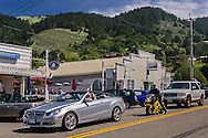 Weekend visitors and tourists in the small coastal community town of Stinson Beach, Marin County, California