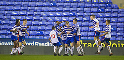 READING, ENGLAND - Wednesday, March 12, 2014: Reading's George McLennan celebrates scoring the fourth goal against Liverpool, to level the score at 4-4 in the final minutes of extra-time, during the FA Youth Cup Quarter-Final match at the Madejski Stadium. (Pic by David Rawcliffe/Propaganda)