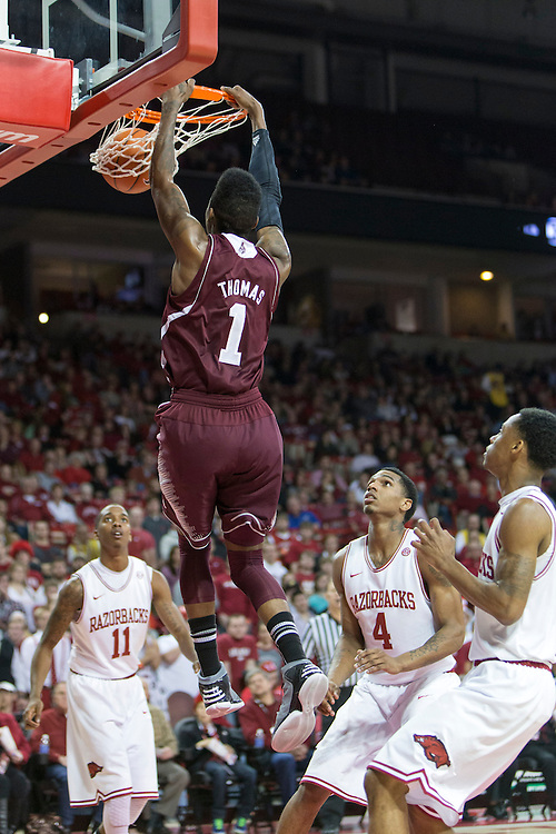 FAYETTEVILLE, AR - JANUARY 23:  Fred Thomas #1 of the Mississippi State Bulldogs goes up for a dunk against the Arkansas Razorbacks at Bud Walton Arena on January 23, 2013 in Fayetteville, Arkansas. The Razorbacks defeated the Bulldogs 96-70.  (Photo by Wesley Hitt/Getty Images) *** Local Caption *** Fred Thomas