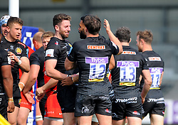 Onehunga Havili of Exeter Braves celebrates his try with team mates- Mandatory by-line: Nizaam Jones/JMP - 22/04/2019 - RUGBY - Sandy Park Stadium - Exeter, England - Exeter Braves v Saracens Storm - Premiership Rugby Shield