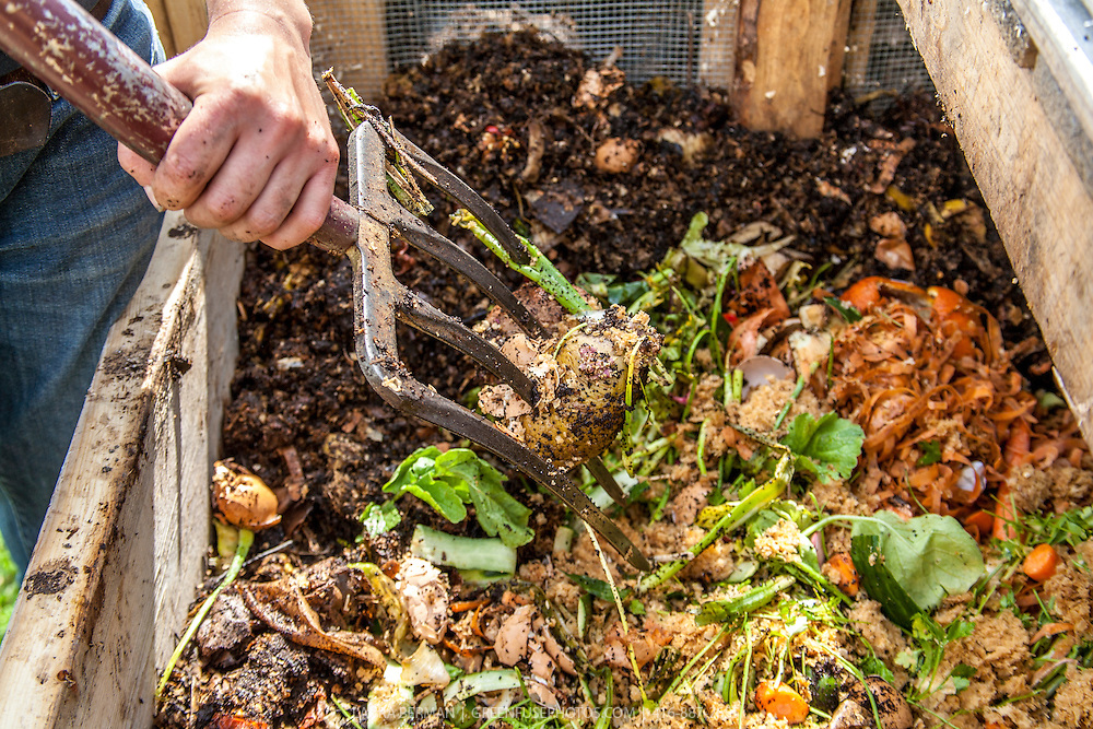 Close up of a gardener turning a compost pile with a garden fork.