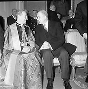 Diplomatic Corps. received by President de Valera..1962..01.01.1962..1st January 1961..The assembled Diplomatic Corps to Ireland was presented to President Eamon Devalera at Áras an Uachterain today. Representatives from:.The Holy See,.Canada,Netherlands,Belgium,Spain,Sweden,.Great Britain,U.S.A,Switzerland,Portugal,Australia, Germany,.France,Italy and India were present...Image shows President DeValera in conversatio with the Papal Nuncio Most Rev Dr Riberi