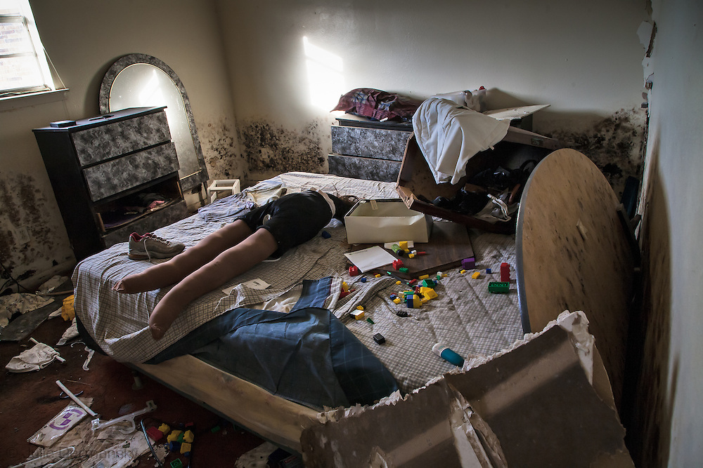 Homemade sex toy in a housing project in Chalmette Louisiana, destroyed by the flood waters following Hurricane Katrina when the levees broke.