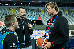 Anze Blazic, Rado Trifunovic, assistant coach of Slovenia and Vladimer Boisa during practice session of Team Slovenia at Day 3 in Group C of FIBA Europe Eurobasket 2015, on September 7, 2015, in Arena Zagreb, Croatia. Photo by Vid Ponikvar / Sportida