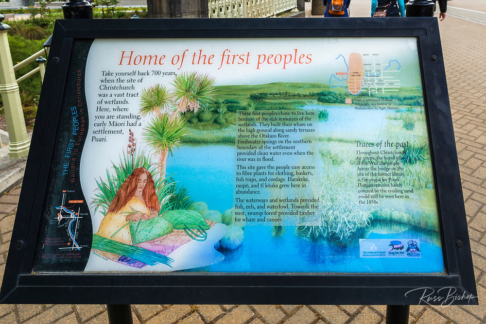 Maori interpretive sign, Christchurch, Canterbury, South Island, New Zealand