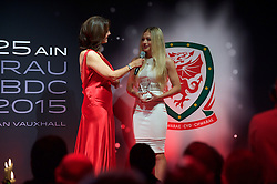 CARDIFF, WALES - Monday, October 5, 2015: Wales' Charlie Estcourt is interviewed  by Frances Donovan after winning the Young Player of the Year Award during the FAW Awards Dinner at Cardiff City Hall. (Pic by Ian Cook/Propaganda)