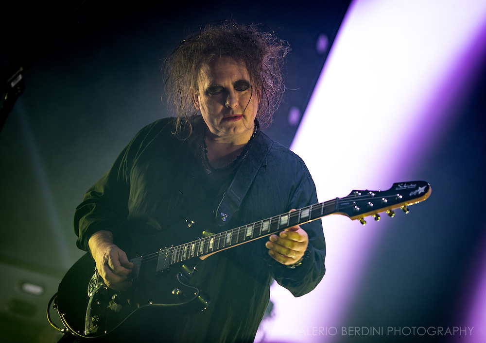Robert Smith of the Cure on the last date of their world tour 2016, after a year around the world the band closed in style at the Wembley Arena in London on 3 December 2016<br /> <br /> This photo has been published uncredited and post-edited again not by Valerio Berdini on the independent on 5 Dec 2016. http://www.independent.co.uk/arts-entertainment/music/reviews/the-cure-wembley-arena-gig-review-live-dates-friday-im-in-love-a7456611.html