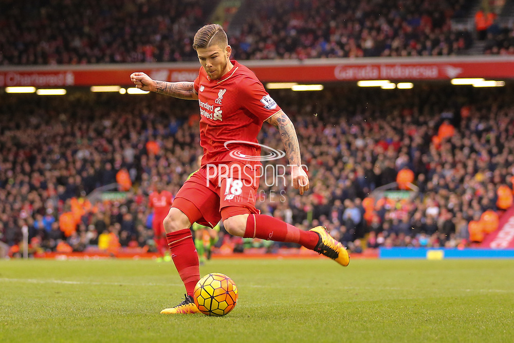 Liverpool defender Alberto Moreno  with another cross  during the Barclays Premier League match between Liverpool and Sunderland at Anfield, Liverpool, England on 6 February 2016. Photo by Simon Davies.