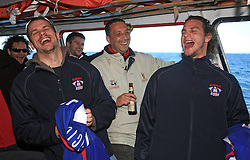 Jurij Golicic and Gregor Poloncic at whale watching boat when Poloncic (18), Golicic (17), Rebolj (27) and Razingar (9) were celebrating an anniversary of playing for Slovenian National Team for 100 (120) times, during IIHF WC 2008 in Halifax,  on May 07, 2008, sea at Halifax, Nova Scotia,Canada.(Photo by Vid Ponikvar / Sportal Images)