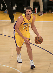 November 21, 2017 - Los Angeles, California, United States of America - Brook Lopez #11 of the Los Angeles Lakers with the ball during their game with the Chicago Bulls on Tuesday November 21, 2017 at the Staples Center in Los Angeles, California. Lakers defeat Bulls, 103-94. JAVIER ROJAS/PI (Credit Image: © Prensa Internacional via ZUMA Wire)