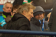 Pop Star and Celtic Fan, ROd Stewart meets the fans ahead of the Betfred Scottish League Cup Final match between Rangers and Celtic at Hampden Park, Glasgow, United Kingdom on 8 December 2019.