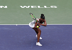 March 10, 2018 - Indian Wells, CA, U.S. - INDIAN WELLS, CA - MARCH 10: Venus Williams ( USA ) hits a backhand during the second round of the BNP Paribas Open on March 10, 2018, at the Indian Wells Tennis Gardens in Indian Wells, CA. (Photo by Adam  Davis/Icon Sportswire) (Credit Image: © Adam Davis/Icon SMI via ZUMA Press)