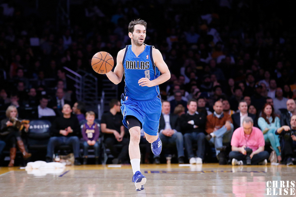 04 April 2014: Dallas Mavericks guard Jose Calderon (8) brings the ball up court during the Dallas Mavericks 107-95 victory over the Los Angeles Lakers at the Staples Center, Los Angeles, California, USA.