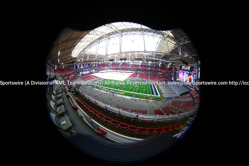 01 FEB 2015:  University of Phoenix Stadium in Glendale Arizona prior to Super Bowl XLIX, The game is between the Seattle Seahawks and the New England Patriots.