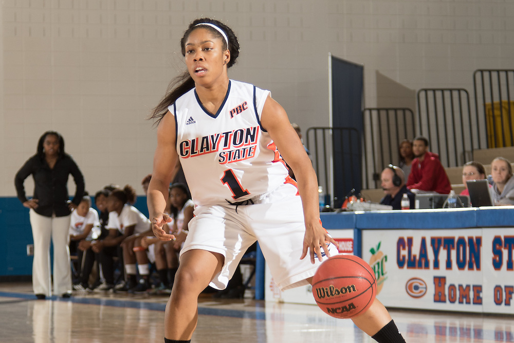 Dec. 3, 2014; Morrow, GA, USA; CSU's Kayla Pryce (1) in action against Fort Valley State at CSU. Clayton State won 87-73. Photo by Kevin Liles / kevindliles.com