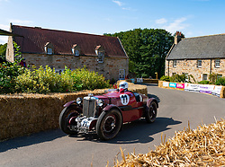 Boness Revival hillclimb motorsport event in Boness, Scotland, UK. The 2019 Bo'ness Revival Classic and Hillclimb, Scotland's first purpose-built motorsport venue, it marked 60 years since double Formula 1 World Champion Jim Clark competed here.  It took place Saturday 31 August and Sunday 1 September 2019. 11 Ian Goddard MG PA P8