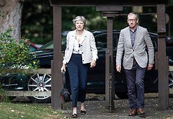 © Licensed to London News Pictures. 22/07/2018. Maidenhead, UK. Prime Minister Theresa May and her husband Philip attend church in her constituency.   Photo credit: Peter Macdiarmid/LNP