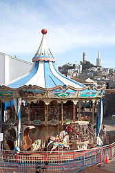 San Francisco, CA: Carousel at Pier 39, a major tourist destination on the City's famous Embarcadero.