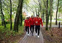 CARDIFF, WALES - Sunday, October 13, 2019: Wales' (L-R) Joe Allen, captain Ashley Williams and Sam Vokes during a pre-match team walk at the Vale Resort ahead of the UEFA Euro 2020 Qualifying Group E match between Wales and Croatia. (Pic by David Rawcliffe/Propaganda)