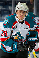 KELOWNA, CANADA - DECEMBER 29:  Leif Mattson #28 of the Kelowna Rockets warms up against the Kamloops Blazers on December 29, 2018 at Prospera Place in Kelowna, British Columbia, Canada.  (Photo by Marissa Baecker/Shoot the Breeze)