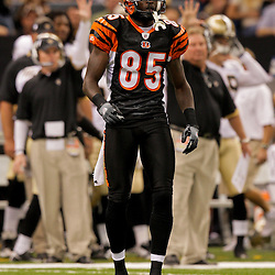 2009 August 14: Cincinnati Bengals wide receiver Chad Ochocinco (85) walks back to the huddle during a preseason opener between the Cincinnati Bengals and the New Orleans Saints at the Louisiana Superdome in New Orleans, Louisiana.