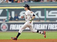 Jun 22, 2016; Houston, TX, USA; Houston Astros right fielder Colby Rasmus (28) runs to second base after hitting a double against the Los Angeles Angels in the fourth inning at Minute Maid Park. Mandatory Credit: Thomas B. Shea-USA TODAY Sports