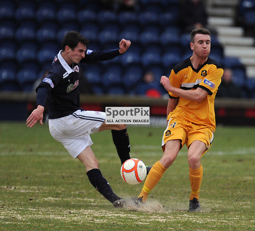 Raith Rovers V Dumbarton, Starks Park, 16-2-2013..Grant Anderson and Mark Lamont go for the same ball..(c) David Wardle | StockPix.eu