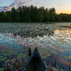 A canoe on a beaver pond at sunset in Epping, New Hampshire.
