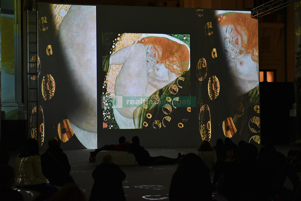 November 17, 2018 - Napoli, Italy - The exhibition Klimt experience, a digital exhibition. The exhibition consists giants projections of the masterpieces of the Austrian Symbolist painter set up in the church of the Basilica of the Santo Spirito in Napoli. (Credit Image: © Paola Visone/Pacific Press via ZUMA Wire)