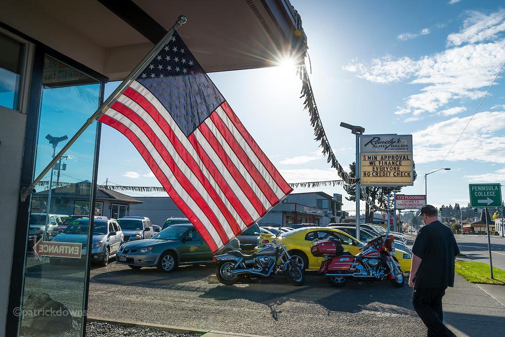 Saturday morning at the used car lot. Port Angeles, WA
