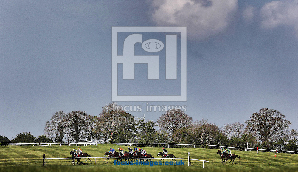 Runner and Riders during the Kildare Hunt Club Fr.Sean Breen Memorial Steeplechase at Punchestown Festival at Punchestown Racecourse, Co.Kildare<br /> Picture by Lorraine O'Sullivan/Focus Images Ltd +353 872341584<br /> 29/04/2014