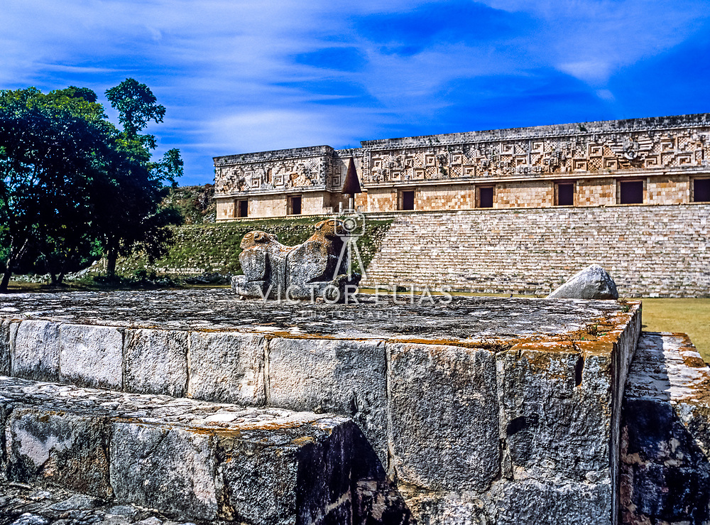 Uxmal # 2 Architectural detail of Puc style. Uxmal. Yucatan, Mexico.