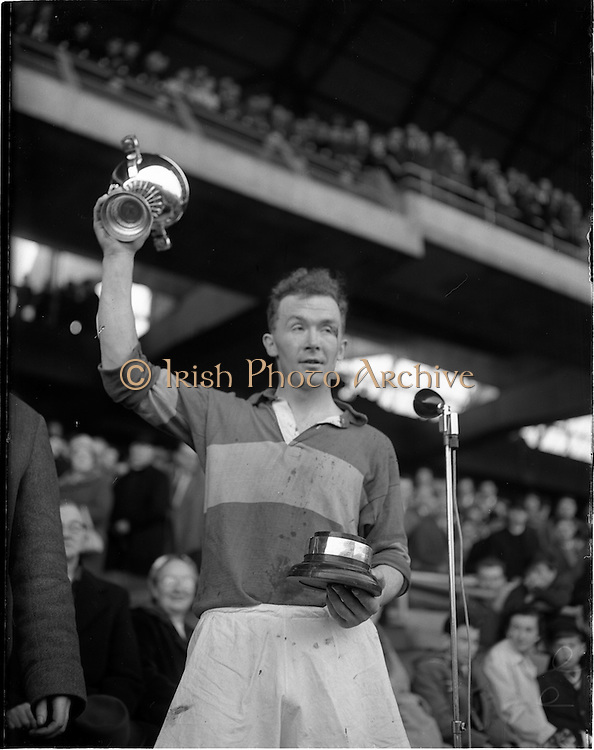 """23/10/1960<br /> 10/23/1960<br /> 23 October 1960<br /> Oireachtas Final: Cork v Tipperary at Croke Park, Dublin.<br /> Tipperary Captain, Anthony """"Tony"""" Wall, with cup."""