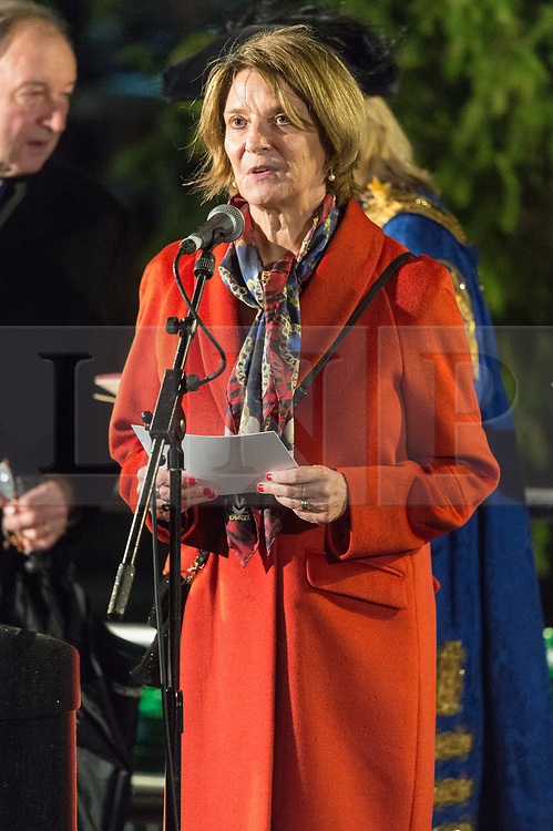 © Licensed to London News Pictures. 06/12/2018. London, UK. The Ambassador of Norway to the United Kingdom, Mona Juul attends the Trafalgar Square Christmas tree lighting ceremony. Every year, since 1947, the people of Norway have given the people of London a Christmas tree. This gift is in gratitude for Britain's support for Norway during World War II. Photo credit: Ray Tang/LNP