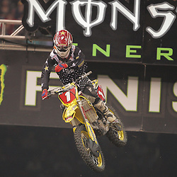 14 March 2009: Chad Reed (1) races during the Monster Energy AMA Supercross race at the Louisiana Superdome in New Orleans, Louisiana